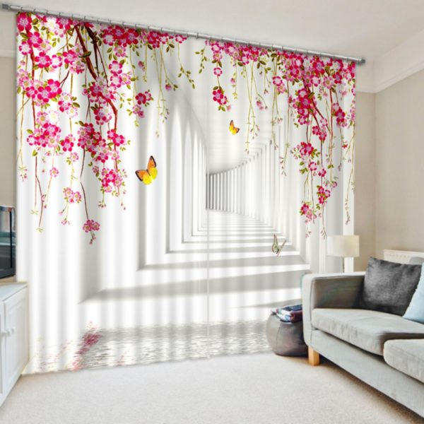 Luxurious White And Pink Flower Themed Curtain Set