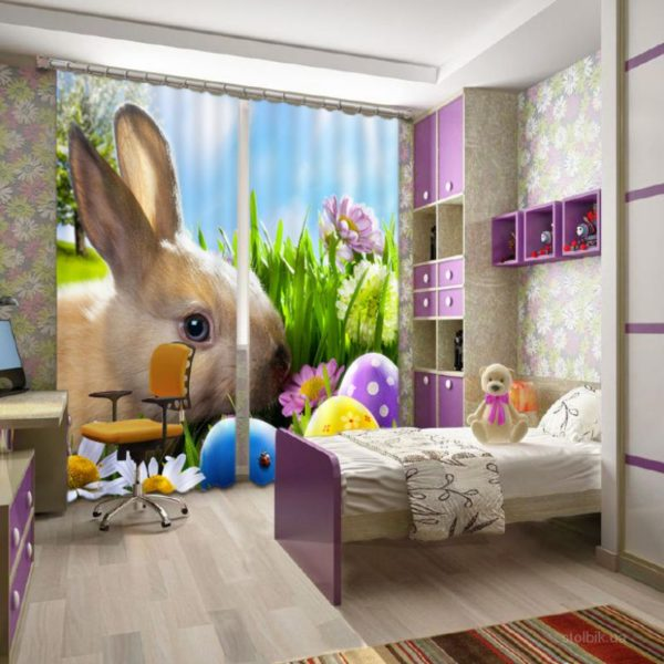Cute Bunny Picture Curtain Set