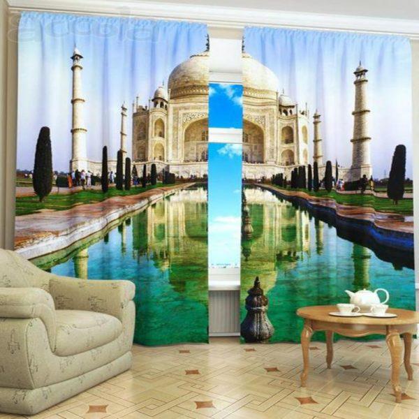 117amazon zpse6ocxzrq 600x600 - Taj Mahal Picture Printed Curtain Set