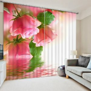 Curtain Set With Rose Picture
