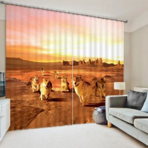 Wonderful Running Fox 3D Curtain Set