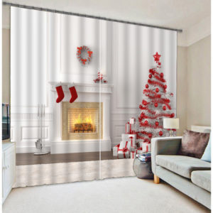 Exquisite Christmas Tree Picture Curtain set