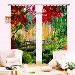 Exquisite Green Picture Curtain set