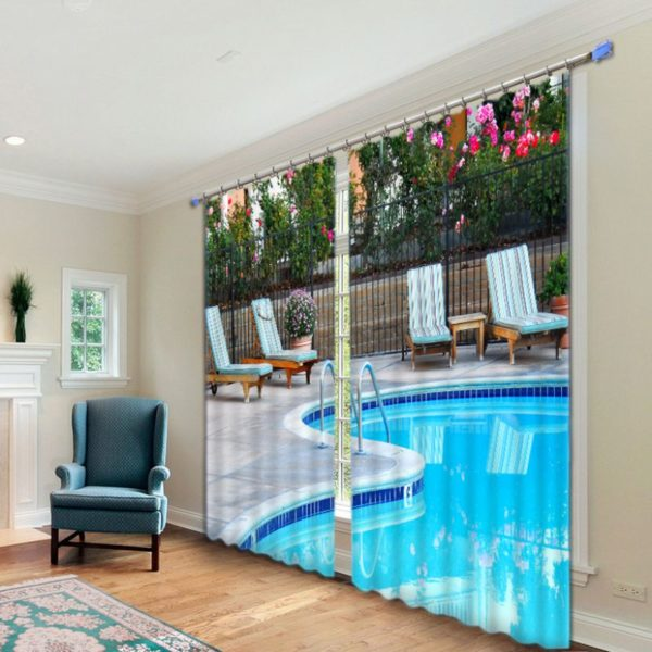 Picture Curtain Set With Swimming Pool Theme