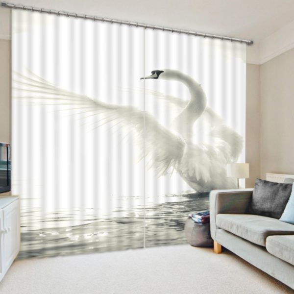 Pristine White Swan Curtain Set