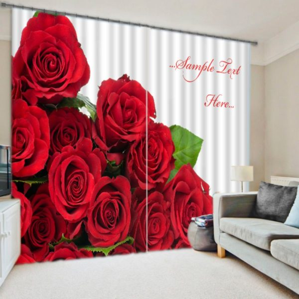 Gorgeous Red Rose Curtain Set