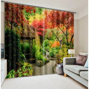 Curtain Set With Nature Theme In Red