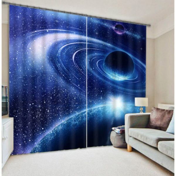 Curtain Set With Mysterious Universe Theme