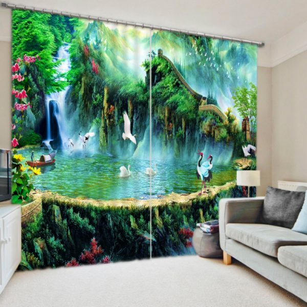 Soothing Nature Themed Curtain set With Swans