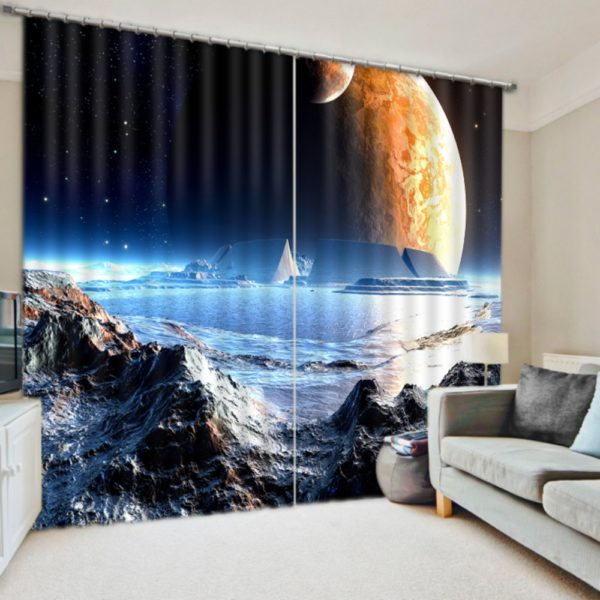Lovely Planet And Universe Themed Curtain set