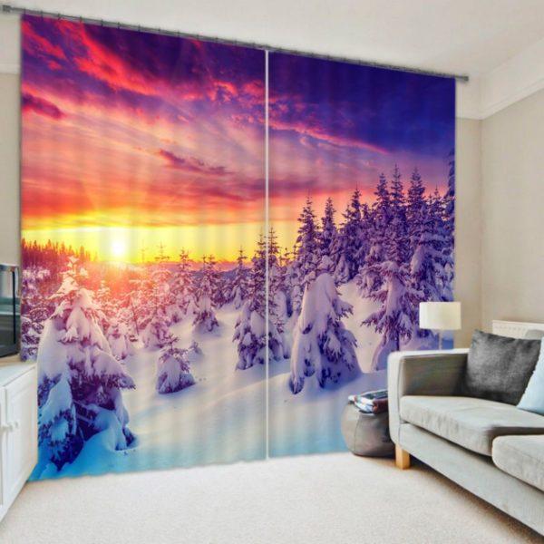 Pretty Snow Themed Curtain set