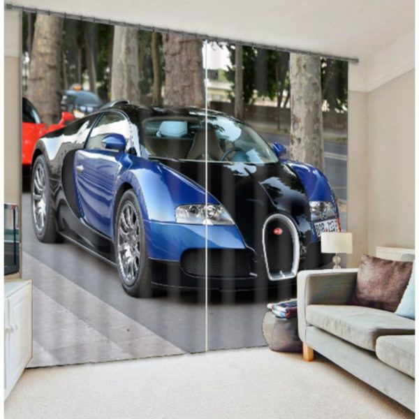 Dashing Car Picture Curtain Set