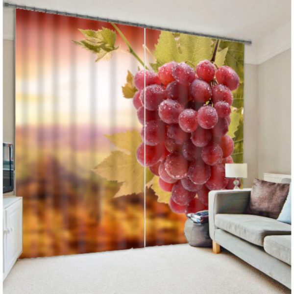Charming Red Grapes picture Curtain Set