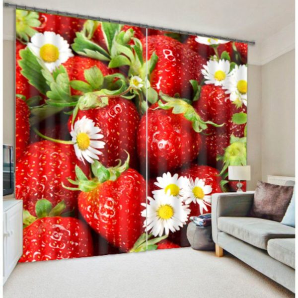Strawberry And White flower Curtain Set