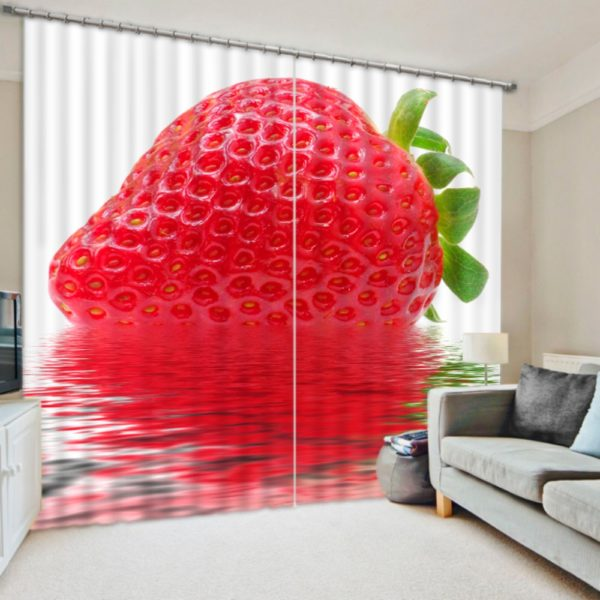 Charming Curtain Set With Strawberry Picture