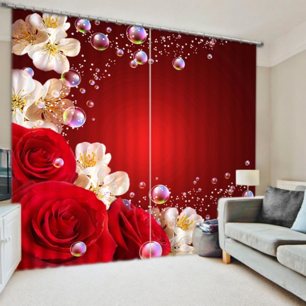 Luxurious Curtain Set With Red Rose