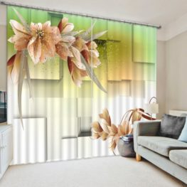 Luxurious Curtain Set With Flower Motif