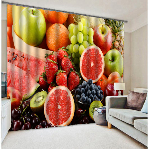 Luxurious Curtain Set With Fruit Theme