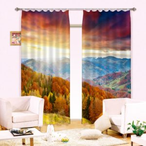 Luxurious Curtain Set With Nature Theme