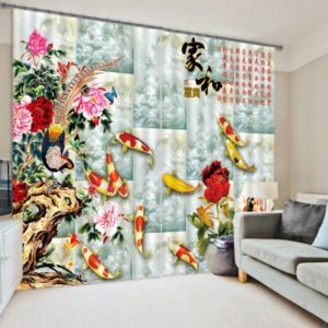 Amazing Curtain Set With Koi Fish Picture