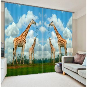 Aristocratic Giraffe Animal Picture Curtain Set