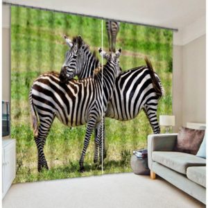 Splendid White And Black Zebra Picture Curtain Set