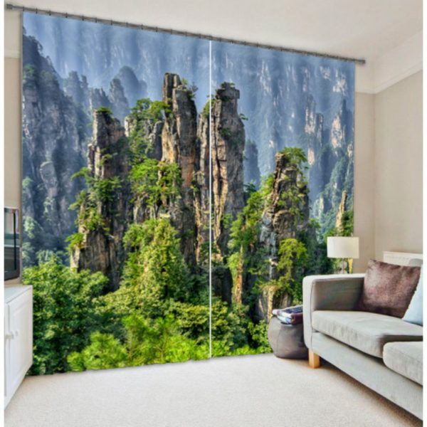 Green Nature Themed Curtain Set