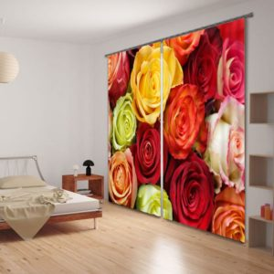 Dazzling Rose Picture Curtain Set