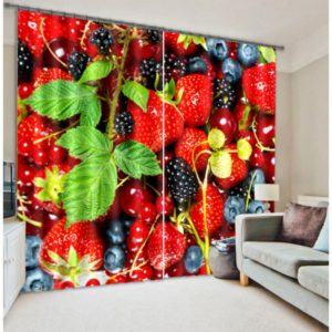 Ultra Cool Strawberry Picture Curtain Set