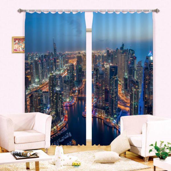 Contemporary Printed City Curtain Set