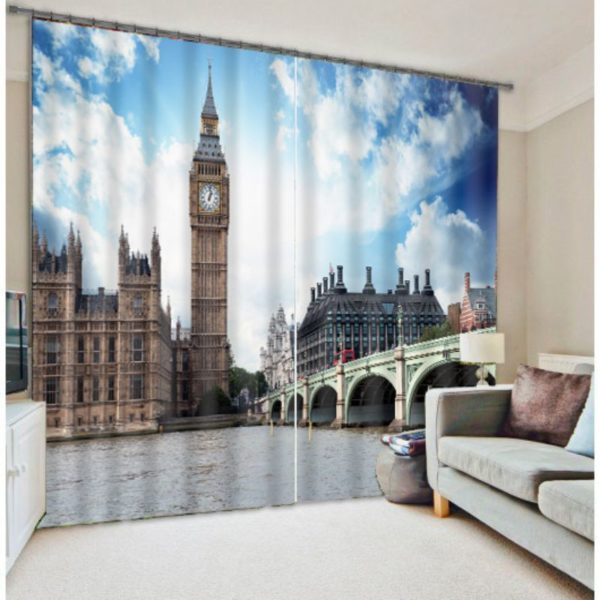 Lovely Big Ben Tower Curtain Set