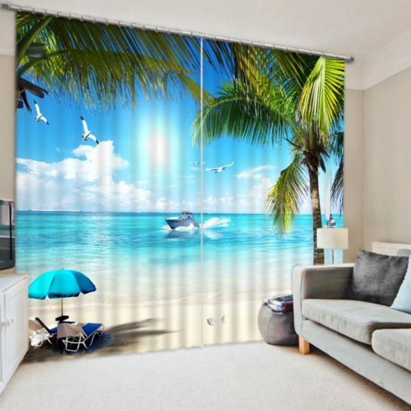 Beautiful Curtain set With Beach Theme
