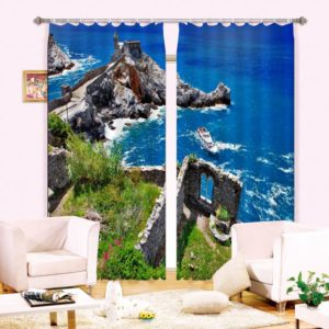 Bright Blue sea Curtain Set