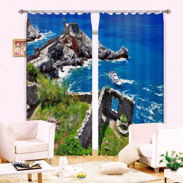 Bright Blue sea Curtain Set