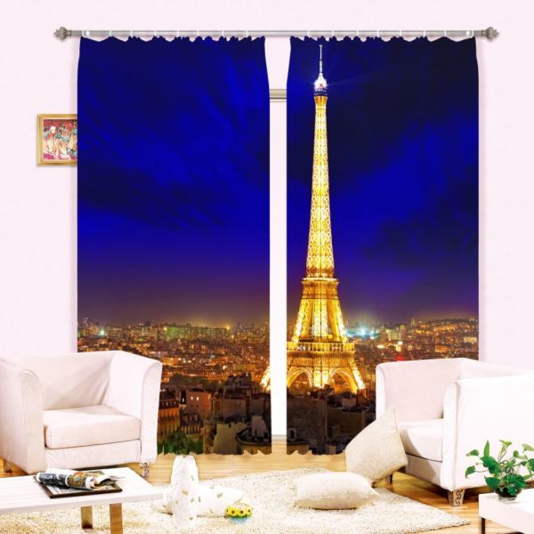 Curtain Set With Eifel Tower