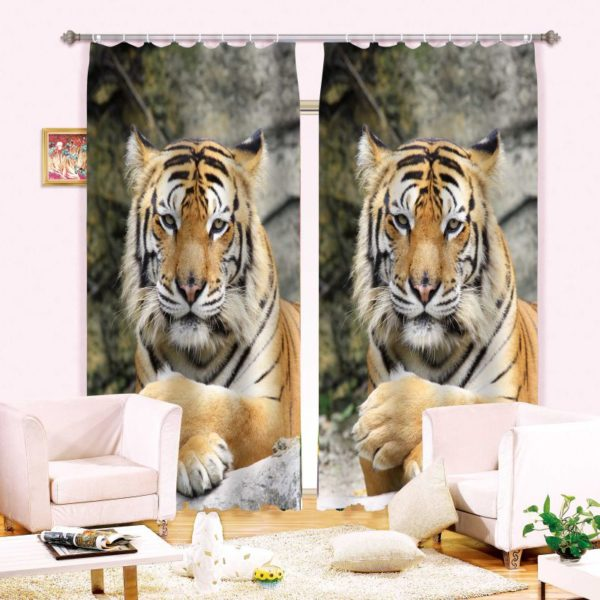 Tiger Print Animal  Curtain Set