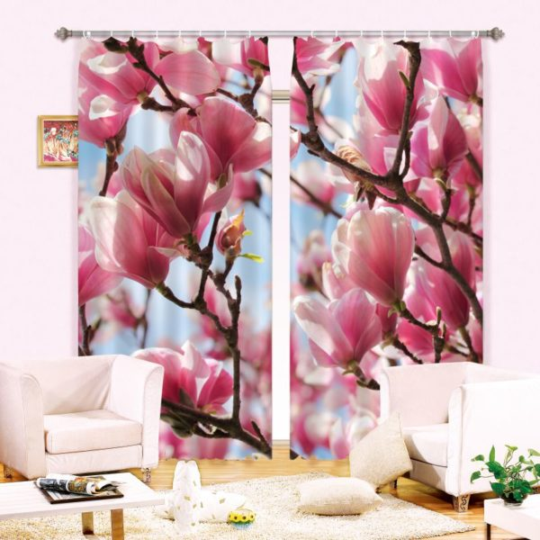 White And Pink Flowers Curtain Set