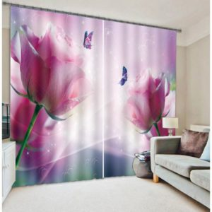 Charismatic White And Pink Flowers Curtain Set