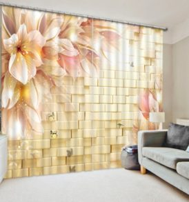 Beautiful 3D Flower Curtain Set