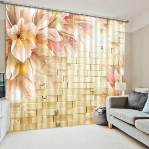 Beautiful 3D Flower Curtain Set