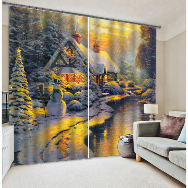Beautiful Christmas Picture Curtain Set