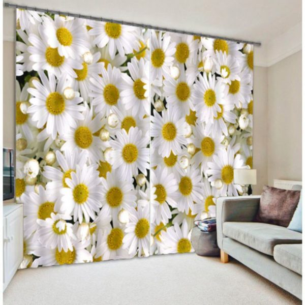 White And Yellow Floral Curtain Set