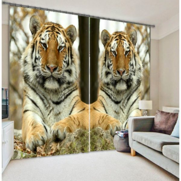 Royal Tiger Animal Picture Curtain Set