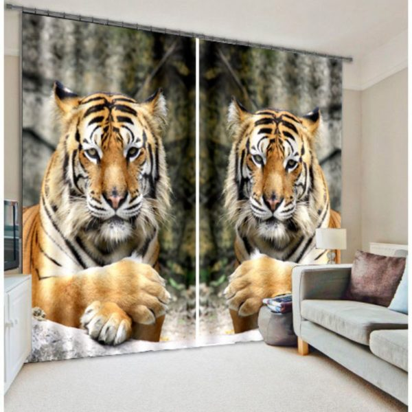 Striking Tiger Picture Curtain Set
