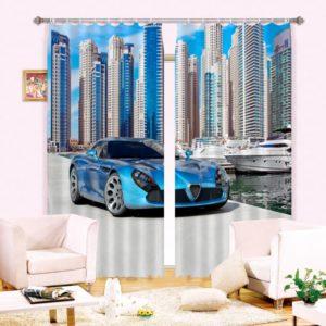 Blue Car Picture Curtain Set