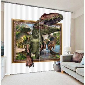3D Forest Due Green Dinosaur Curtain Set