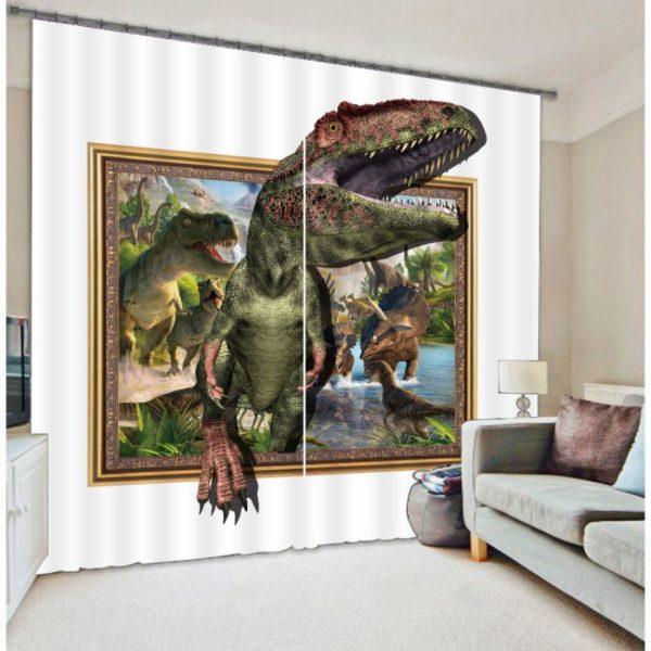 3D Forest Due Green Dinosaur Curtain Set