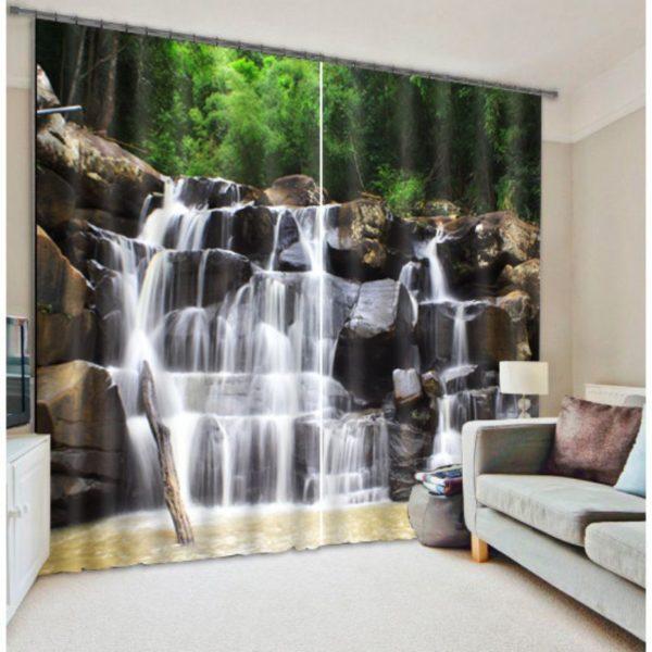 Beautiful White Waterfall Picture Curtain Set