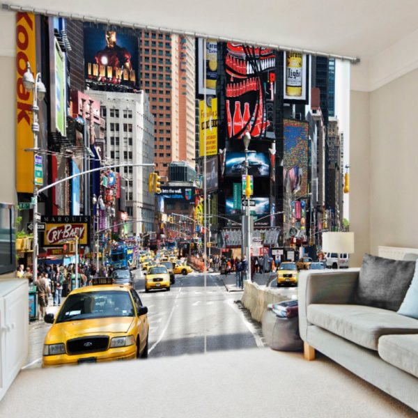 Attractive City Themed Curtain Set
