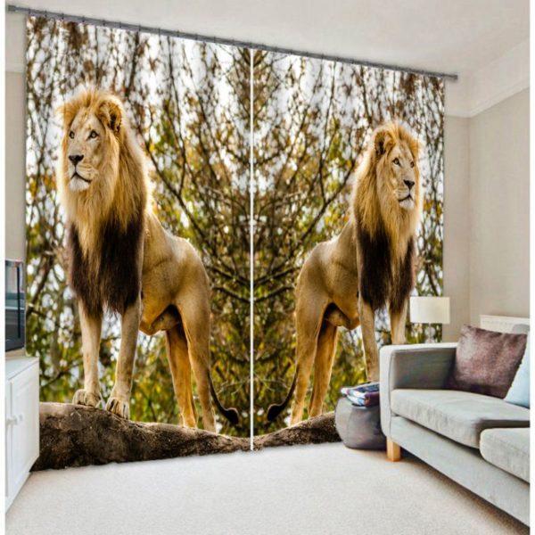 Magnificent Lion Picture Curtain Set
